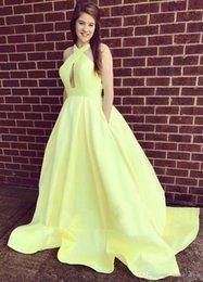 $enCountryForm.capitalKeyWord NZ - Sexy Yellow Prom Dresses Halter A Line Keyhole Neck Sash Satin Dresses Party Evening Wear Plus Size Formal Dresses SP332