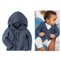 Baby Knit Jacket Cardigan NZ - Newborn Sweater Coat Infant Boys Girls Cardigans Hoodie Autumn Winter New Born Coats Clothes Warm Knitting Baby Jacket Bebe