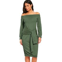 15cc79301227 Women Sexy Off Shoulder Dress Tie Front Bodycon Solid Slash Neck Dress Long  Sleeve Club Party Clubwear 2019 Womens Clothing