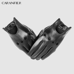 Discount mens leather fingerless driving gloves - CARANFIER Mens Genuine Sheepskin Leather Gloves Driving Car Motorcycle Bike Goatskin Touch Screen Mittens Breathable Mal