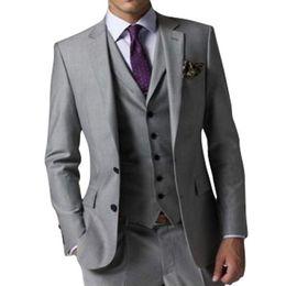 $enCountryForm.capitalKeyWord NZ - High Quality Side Slit Two Buttons Light Grey Wedding Groom Tuxedos Notch Lapel Groomsmen Men Formal Prom Suits (Jacket+Pants+Vest+Tie) W188
