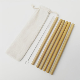 plastic alternatives NZ - 6pcs set 20cm Bamboo Drinking Straws with Pouch and Cleaning Brush Biodegradable Reusable Handcrafted Bamboo Straws Alternative to Plastic