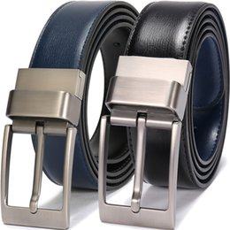 Leather Belts For Buckles Australia - Men's Handmade textured Leather Designer Belts For Men With Shiny Prong Reversible Buckle Black and Blue ceinture homme cuir