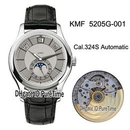 Watches complications online shopping - KMF Complications Annual Calendar G White Gold Cal SC Automatic Mens Watch Moon Phase Silver Dial Leather Watches Puretime E02b2