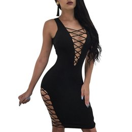 77eabeeaf8b4 Women Hollow Out Dress Plunge V Sleeveless Cross Strap Bandage Cut Out Bodycon  Dress Mini Sexy Night Clubwear Black Dress 2019