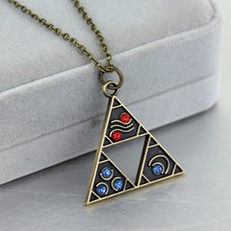 Necklaces Pendants Australia - 10pcs Anime Game Jewelry The Legend Of Triforce Zelda Triangle Otaku Pendant Necklace Bronze Plated Vintage Accessories C19041203