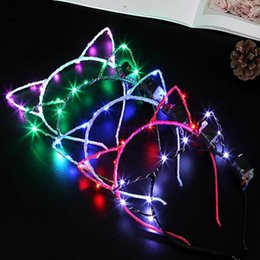 Glow Party Decorations Australia - Cute LED Light Headband Cat Ears Shape Hair Hoop Glowing In The Dark Head Band For Masquerade Party Decoration