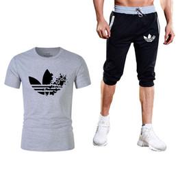 Summer Sportswear Suit Australia - 2Pcs Tshirt+ Shorts Tracksuit Man Brand Sets Pants Summer Men's T Shirt Shorts Casual Suits Sportswear Mens t shirt Sweatshirt