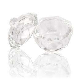 $enCountryForm.capitalKeyWord Australia - Nail Art Acrylic Crystal Glass Dish Bowl Cup With Lid Clear Nail Tools Acrylic Art Equipment Mini Bowl Cups
