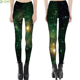 Galaxy Yoga Pants Australia - Green Space Galaxy Fitness Skinny Leggings Flaming Star Nebula 3D Print Female Trousers New Arrival Sports Yoga Pants Tights #530810