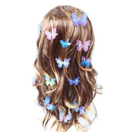 Double Clip For Hair Australia - Beautiful Rhinestones Double Layers Tulle Butterfly Hair Clip For Women Girls Hairpin Gauze Butterfly Hair Accessories Ornaments