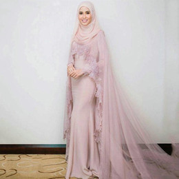 Wholesale islamic arts for sale - Group buy Vintage Long Sleeves Muslim Evening Dresses with Scarf Islamic Dubai Kaftan Saudi Arabic Long Prom Gown