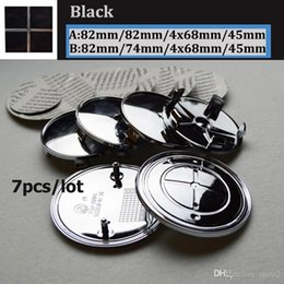 car bonnet emblems Australia - 7pcs set Kit full Black Logo Head Hood Badge Trunk Emblem Cover 82mm 74mm Front Bonnet 45mm Car Steering wheel center caps 68mm caps label