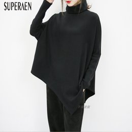 winter t shirt lady Australia - SuperAen Autumn and Winter New Loose Women T Shirt Pluz Size Turtleneck Cotton Wild Ladies T Shirts Casual Irregular Women Tops T200107