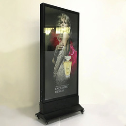 Discount lighted menu boards 80*180cm Outdoor Stand Restaurant Led Menu Boards Movable Double Sided Aluminum Advertising Poster Frame Light Boxes