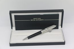 mb metal Australia - Luxury MB Ballpoint pen Meisterstucks up Silver metal down black resin with serial numbers stationary supplies for best gifts
