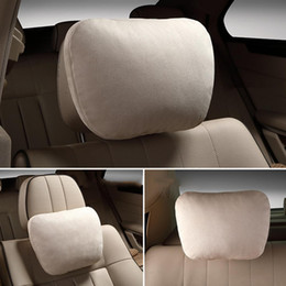 neck headrest for car seat NZ - 1pc Universal Suede Car Seat Headrest Adjustable Neck Head Rest Cushion Headrest For Vehicle Auto Beige Seat Cover
