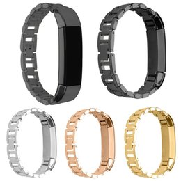 Band Straps Australia - New Arrival 4 Colors Rose Gold Watchbands 14mm Stainless Steel Bracelet Watch Band Strap For Fitbit Alta Tracker High Quality