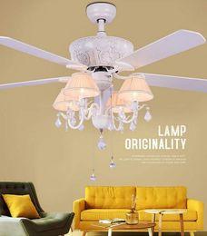 $enCountryForm.capitalKeyWord Australia - 52 inch crystal Modern LED Ceiling Fans With Lights wood blade Bedroom Ceiling Light Fan Lamp remote control 220 volt LLFA