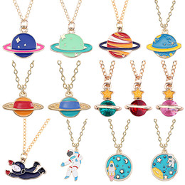 Rocket pendants online shopping - Fashion Space Planet Astronaut Necklace Cartoon Planet Rocket Spacecraft Pendant Metal Necklace Men and Women Daily Jewelry