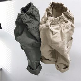 $enCountryForm.capitalKeyWord Australia - INS Newest Autumn Kids Boys Girls Trousers Tatting Cotton Casual Fashion Blank Front Big Pockets Vintage Elastic Waist Children Pants