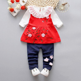 Branded Baby Kids Clothes Australia - Baby Boys And Girls Suit Brand Tracksuits Kids Clothing Set Hot Sell Fashion Spring Autumn Long three piece Lace cottor suit clothes