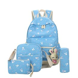 Red pen giRl online shopping - Multi function Four Piece Set Bag Design Pen Bag Purse One Piece Backpack Dot Canvas Bags Set Back To School Lady Shoulders Backpack T