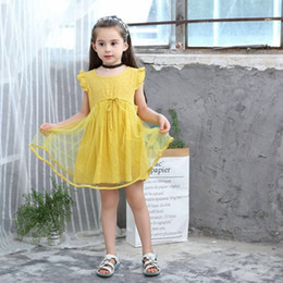 2019 New Style Princess Dresses Kids Girl Solid Yellow Clothing Children  Birthday Party Summer Ball Gown Ruffles Sleeves Dress d3df44801695