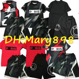 Wholesale soccer jersey t shirt online – design Super good quality Paris Soccer jersey aj Vest shorts Football shirt Camouflage jersey shorts Style T shirt shorts kits