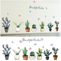 $enCountryForm.capitalKeyWord Australia - Creative Pot Plant Cactus Wall Stickers Vinyl DIY Art Mural for Living Room Bedroom Kitchen Glass Window Decoration Sticker