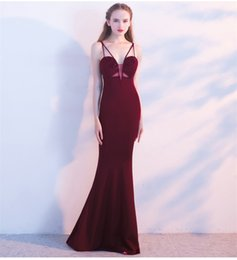 $enCountryForm.capitalKeyWord Australia - Wine Red Crystal Beading V Neck Spaghetti Strap Empire Waist Floor Length Mermaid Sexy Clubwear Party Dresses Long Elegant Gowns