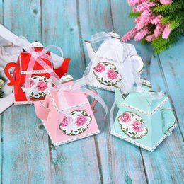 teapot party favor Australia - DIY 50pcs 4color Creative Teapot Shape Sweet Candy Box With Ribbon DIY Retro Rose Printed Sugar Box Wedding Party Favor Gift