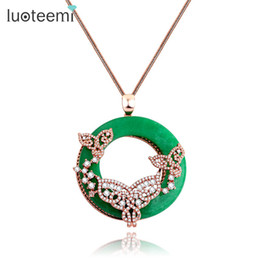 $enCountryForm.capitalKeyWord UK - LUOTEEMI Statement Necklace Big Round Green Artificial Prong Clear Zircon Fake Necklace Link Chain Sweater Women Jewelry Gift