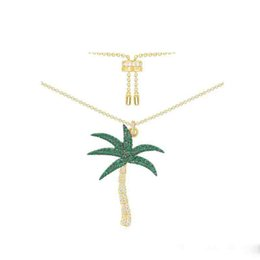 $enCountryForm.capitalKeyWord UK - Summer Fashion Women Necklace Yellow Gold Colorful Green CZ Coconut Tree Pendant Necklace for Girls Women for Vocation Nice Gift