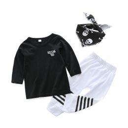 Boy Trousers Black Australia - New Spring and Autumn Boys Long Sleeve Clothing Set Children's Fashion Stripe T-Shirt + Trousers Cotton Design Black White Free Shipping