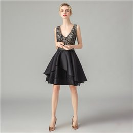 $enCountryForm.capitalKeyWord Australia - little Black Prom Dresses 2019 new sexy deep V neck Evening Gowns Formal Party prom Dress Cheap