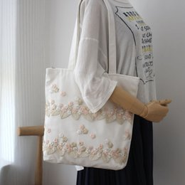 large canvas floral tote bags NZ - Canvas Women Bag Fashion Lace Canvas Shoulder Bags Embroidery Flower Shopping Handbag Ladies Large Tote Bags Summer Beach Bag D19011504