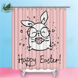 pink curtain fabric NZ - Vixm Happy Easter Cute Hipster Rabbit Pink Shower Curtains Kawaii Cartoon Pattern Egg Waterproof Polyester Fabric Curtains For Home Decor