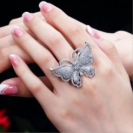 Butterfly White Rose Australia - Victoria Wieck Luxury Jewelry 925 Sterling Silver&Rose Gold Fill White Sapphire Pave CZ Diamond Party Butterfly Women Wedding Band Ring Gift