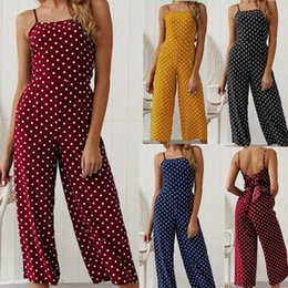 Playsuit Bow Australia - Yellow Polka Dot Sleeveless Beach Playsuit With Bow Boho Summer Jumpsuits Women Spaghetti Strap Floral Print Romper Jumpsuit Long Pants