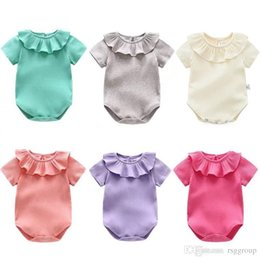$enCountryForm.capitalKeyWord Australia - Newest INS Cute Baby Girls Onesies Stripes Ruffles Neck Solid Color 100% Cotton Summer Cotton Soft Newborn Jumpsuits with Bowknot Tie 0-2T