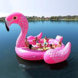 6-7 человек надувной гигантский розовый поплавок большой озерный островные игрушки бассейн весело плоть водяной катер большой остров, единорог на Распродаже
