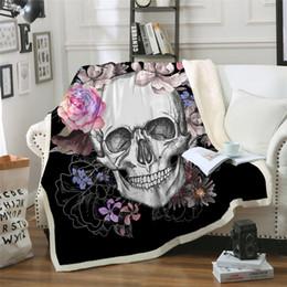 $enCountryForm.capitalKeyWord Australia - Sugar Skull Blanket For Beds Floral Roses Thin Quilt Fashionable Bedspread 130x150cm Fleece Throw Blanket