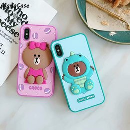 cute korean mobile phone 2019 - Mytoto Cute Fashion 3D Korean Bear Shockproof Mobile Phone Case For iPhone X XS MAX XR 6 6s 7 8 Plus For Soft Silicone B