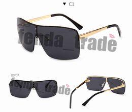 Gafas de sol de gran tamaño de metal para mujer Lente de una pieza 2019  Nueva moda sin montura Gafas de sol para mujer UV400 Negro Red Oculos marca  hombres 77020a8f2631