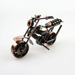 Wholesale Vintage D Toy Handmade Iron Make Simulation Motorbike Decoration Home Cafe Office Artwork Ornament Scrambling Motorcycle Model