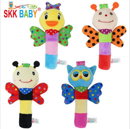 Baby Hand Ring Australia - 5pcs lot 0-2 years old baby toy rattle baby hand caught animal tooth gel BB stick hand ring