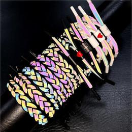 $enCountryForm.capitalKeyWord NZ - 11 Colors Shoelace Luminous Charms Bracelet Men Hologram Reflect Light Weave Shoelace Lovers Women Bracelet Student Jewelry