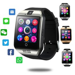 Bluetooth Smart Watch Sim Australia - Q18 Smart Watch Bluetooth Wristband Smart Watches TF SIM Card NFC with Camera Chat Software for IOS Android Cellphones with Retail Box