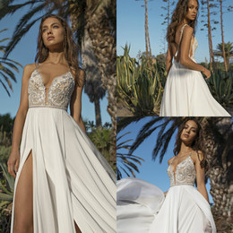 beach wedding dresses rhinestones NZ - Asaf Dadush Bohemian Wedding Dresses Spaghetti Lace Rhinestone A Line Chiffon Skirt Boho Wedding Dress Sexy Backless Side Split Bridal Gown